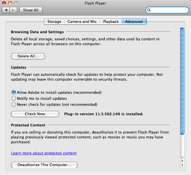 Adobe Flash Player for Mac OS X 32.0.0.453 full