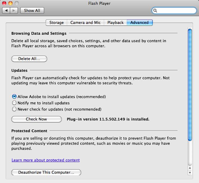 Adobe Flash Player for Mac OS X full screenshot