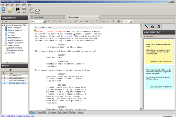 celtx screenwriting software