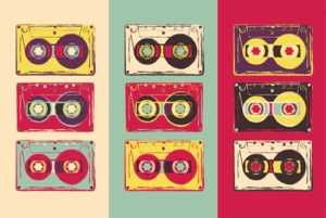 Cassette tapes pop art