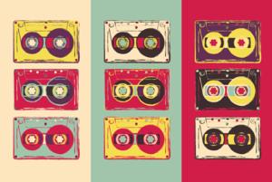 Cassette tapes pop art