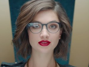 Girl with leather jacket wearing Google Glass