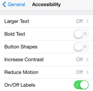 ios71 accessibility settings