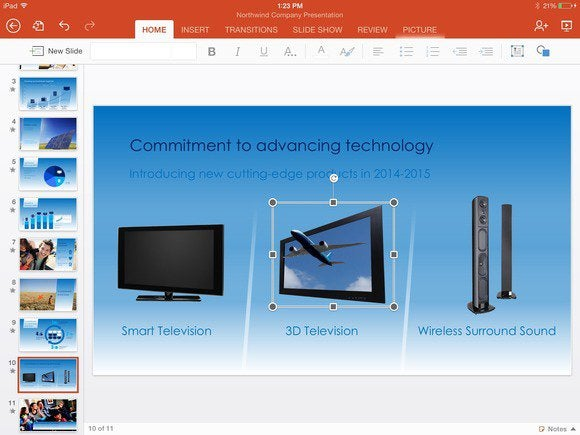 office for ipad powerpoint resize