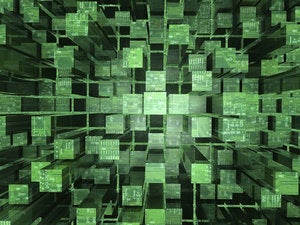 3d illustrated abstract background featuring cubic reflective surfaces and circuitry 92012525