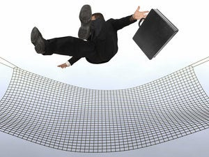 businessman falling the sky into a safty net 91138081