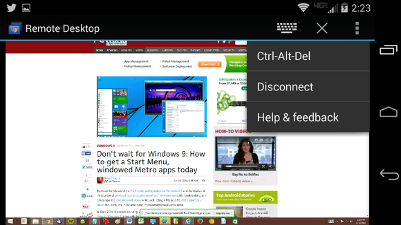 chrome remote desktop android app in use