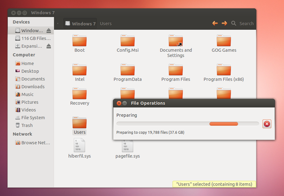 recover windows files from ubuntu