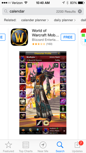 app search calendar world of warcraft