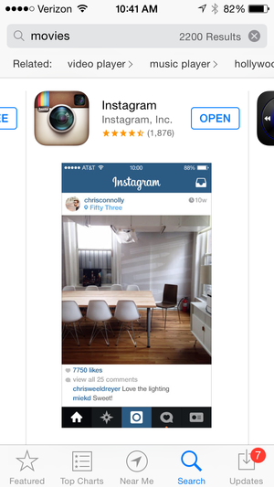 app search movies instagram