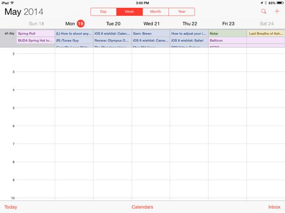 calendar ipad week