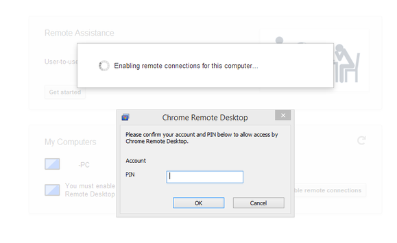 chrome remote desktop pin