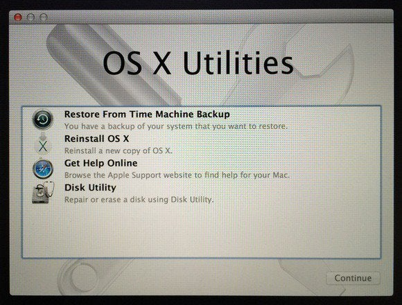 mavericks recovery os x utilities screen