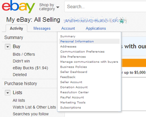my ebay account personal info
