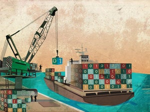 shipping industry with loading binary code containers on ship representing the concept of software