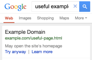 google search result redirect