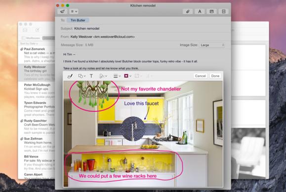 os x yosemite mail markup