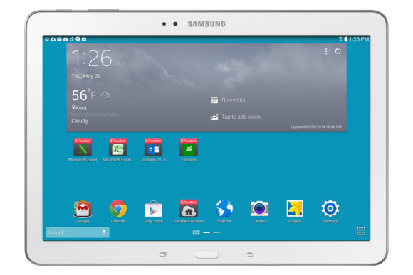 parallels access 2 galaxy w homescreen with office shortcuts