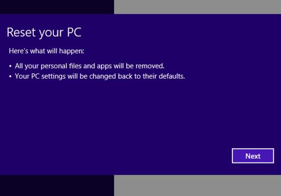 windows 8 reset pc