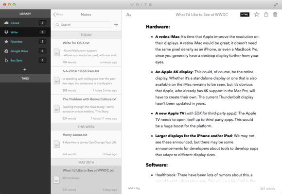 write for mac html preview