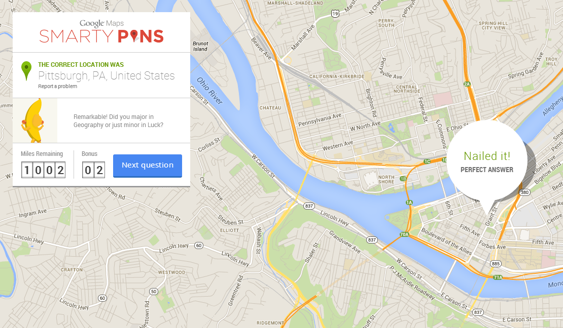 Google s smarty pins turns maps into a game that tests your trivia and