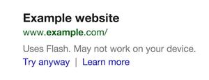 flash warning mobile google search