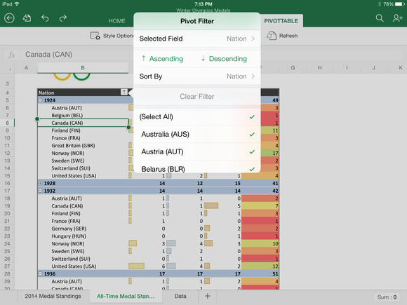 sorting a column in a pivottable in excel for ipad