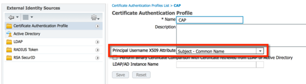 Certificate Authentication Profile (CAP)