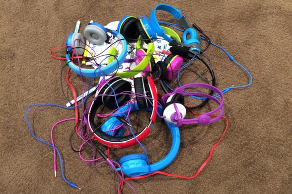 mess of headphones