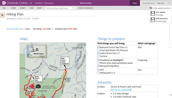 onenote people presence