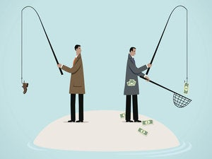 Testing skill, talent, or luck, fishing for money with success or failure.