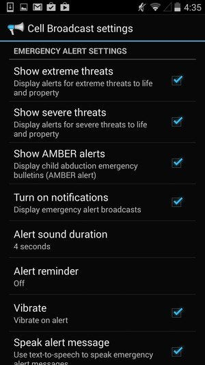 emergency alerts screen