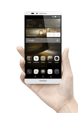 huawei ascend mate7 single gray front face hand hi res