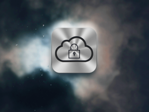 iCloud icon in a dark sky.