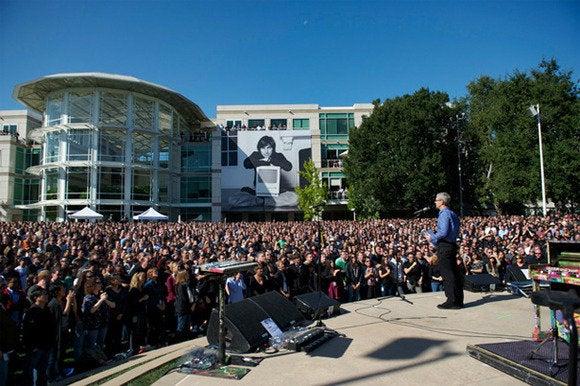 Tim Cook speaks at Apple's Steve Jobs memorial