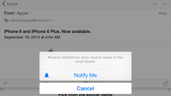 mail ios8 notify