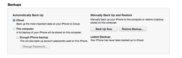 new iphone backup itunes