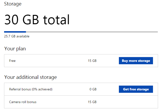 30GB free OneDrive storage