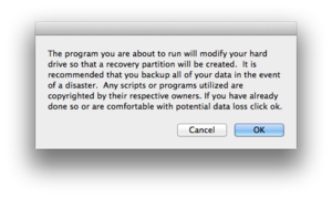 recovery partition creator initial dialog