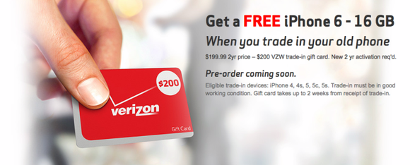 verizon iphone 6 6 plus free trade