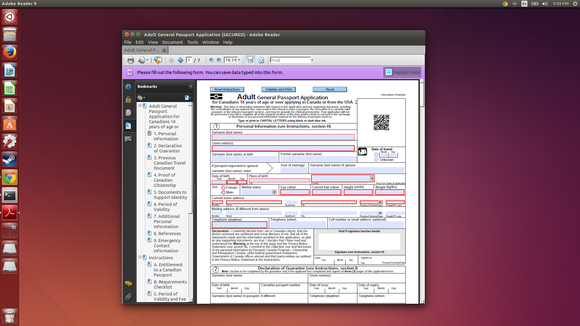 1.2 adobe reader on linux with pdf forms