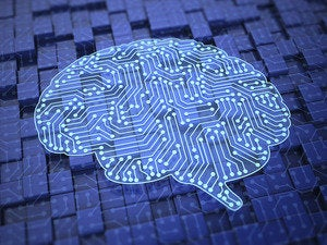 Artificial intelligence computer brain circuits electronics grid