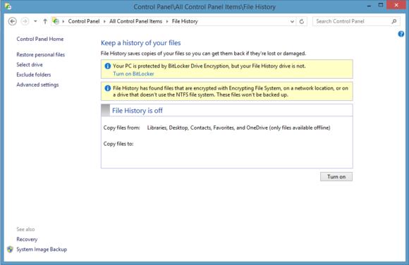 Инструмент истории файлов в Windows 8