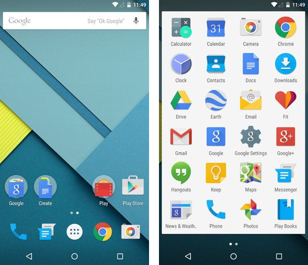 Nexus 6, Android 5.0 Lollipop