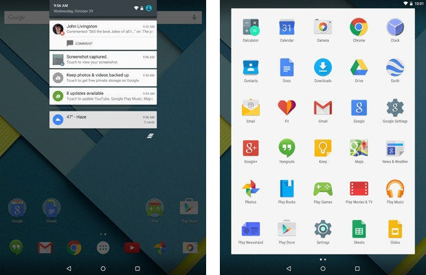 Nexus 9, Android 5.0 Lollipop