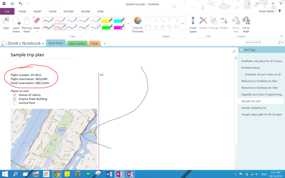 onenote ink