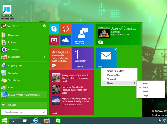 windows10 start menu