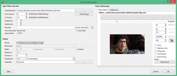 gimp extract videorange