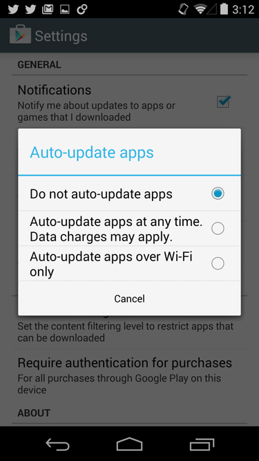 How to turn off automatic updates of apps on mobile