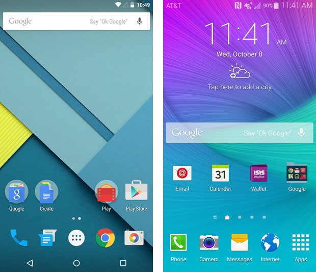 Nexus 6 vs Galaxy Note 4 User Interface